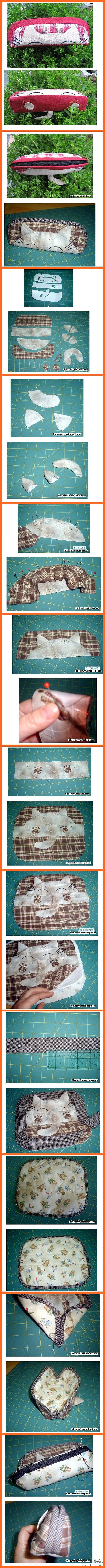 diy purse. Don't like the cat, but I like the structure :)