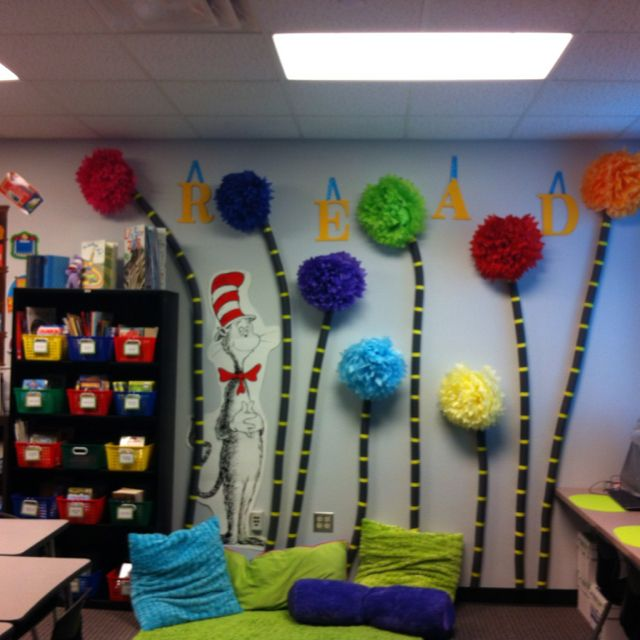 "Reading wall in classroom library:  The Lorax theme.... i dont have a classroom but this is super cute for a kids ""reading area"""