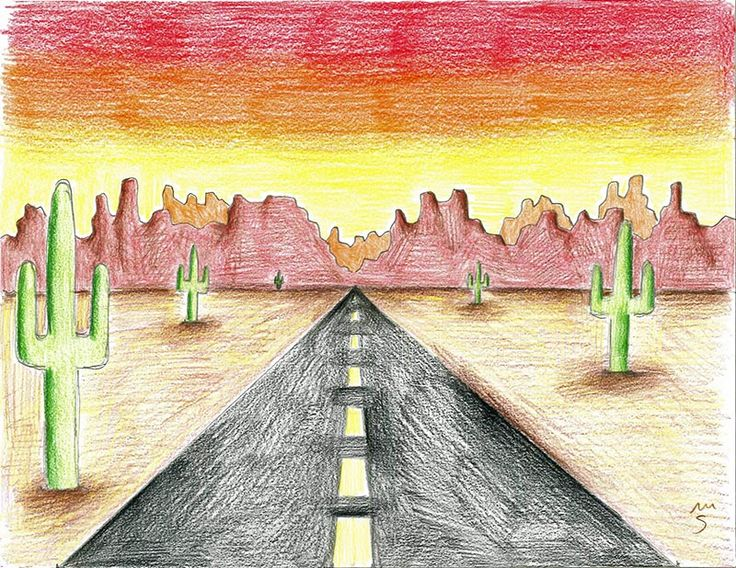landscape colored desert pencil easy drawing drawings simple pencils