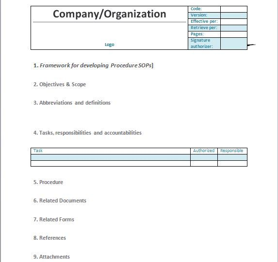 37 Best Standard Operating Procedure Sop Templates Standard