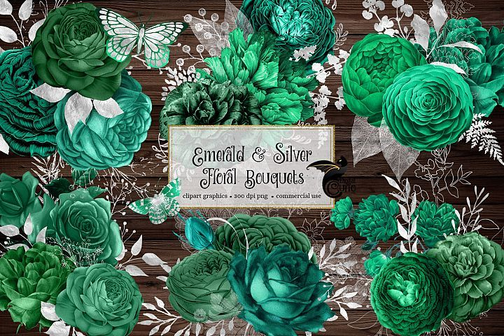 Emerald And Silver Floral Bouquets 386183 Illustrations Design Bundles Floral Bouquets Illustration Design Illustration