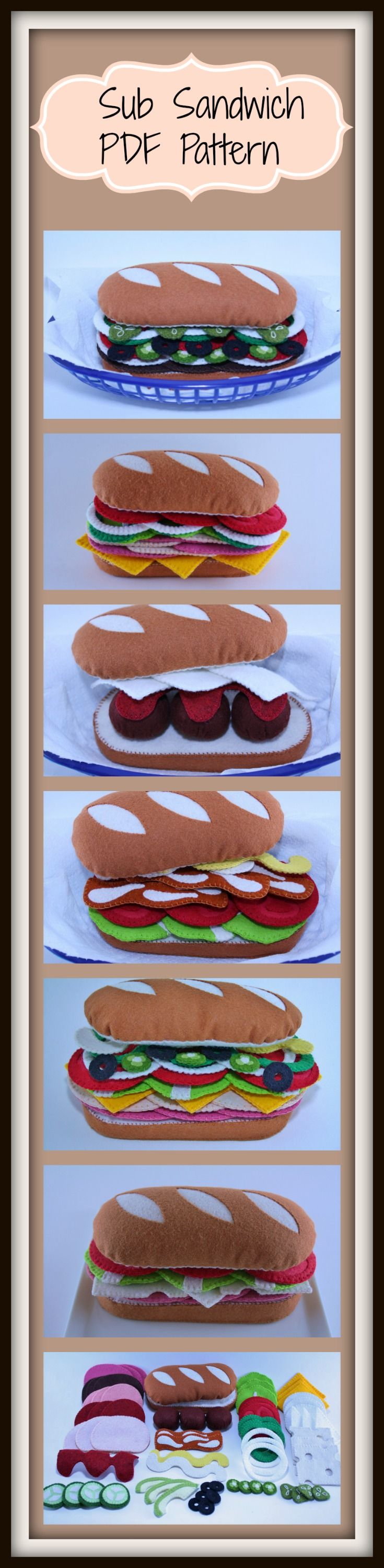 Sub Sandwich instant download PDF pattern available at www.etsy.com/shop/patternplanetshop