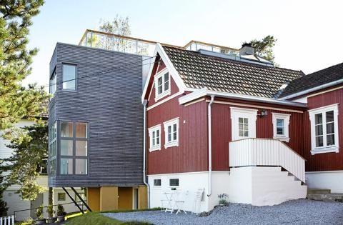KONTRASTER: Ferdig tilbygg. Både tilbygg og opprinnelig hus har fått ny fasade, men i ulike stiler. Foto: Sveinung Bråthen