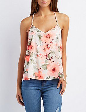Floral Strappy V Neck Top