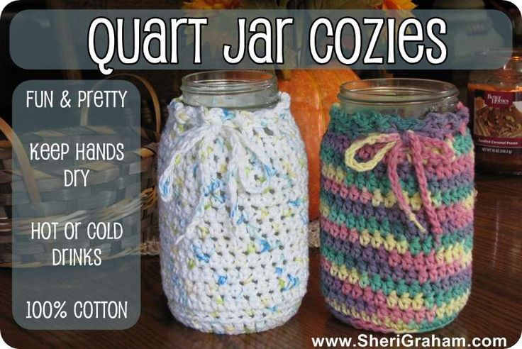 Quart Jar Cozies Now Available {for all your Trim Healthy Mama drinks!} - Sheri Graham  (this is NOT a pattern!)