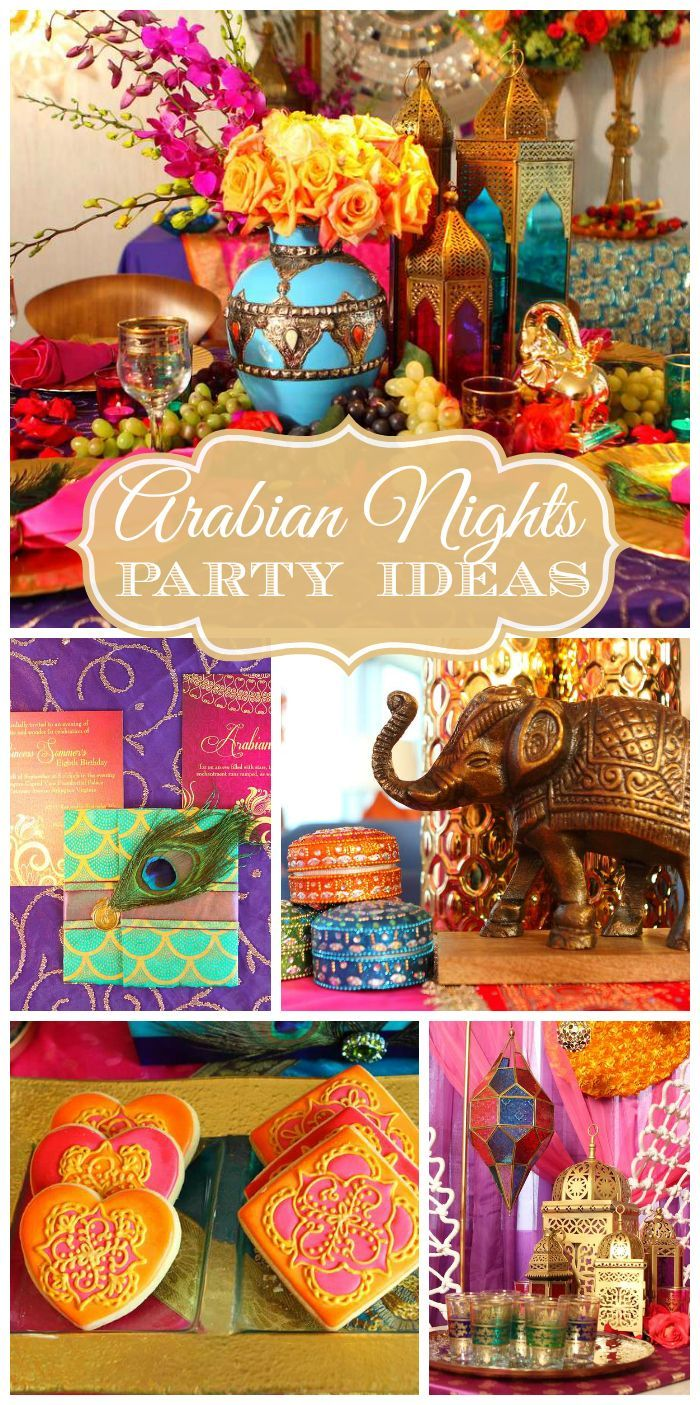 A amazing Arabian Nights girl birthday party with belly dance lessons, bindi, and sand art crafts! See more party planning ideas at CatchMyParty.com!