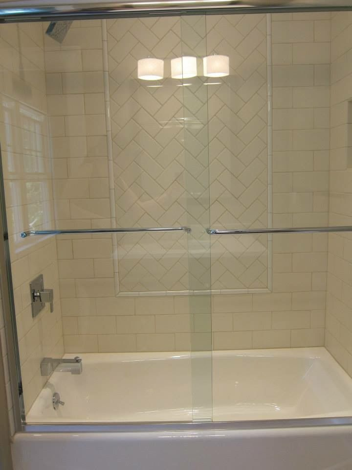 4x8 Subway Tile With 3x6 Herringbone Window Wwwtilebythemilecom Bathrooms In 2019 Subway