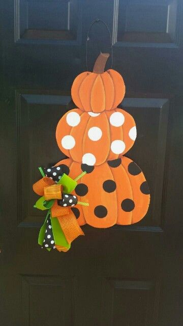 Triple Stack Pumpkin. Fall door hanger.  Wooden door hanger with bow! $50 Like us on Facebook: Elroy Farms Bow~tique!