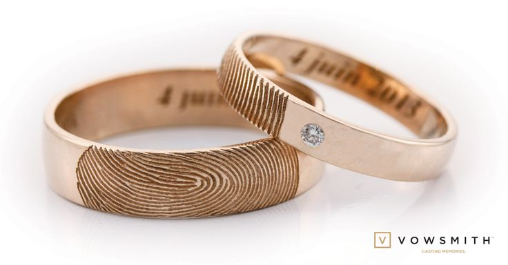 A Classic, in rose gold! Your beloved fingerprint  on your wedding bands!