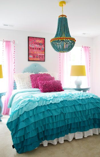 i really like this duvet with the gradient ruffles - would be great for curtain's in the kid's room
