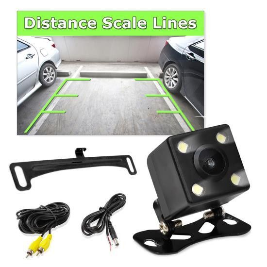 Rearview Backup Reverse/Parking Camera, Waterproof Night Vision Cam, Distance Scale Line Display, Swivel Angle Adjustable