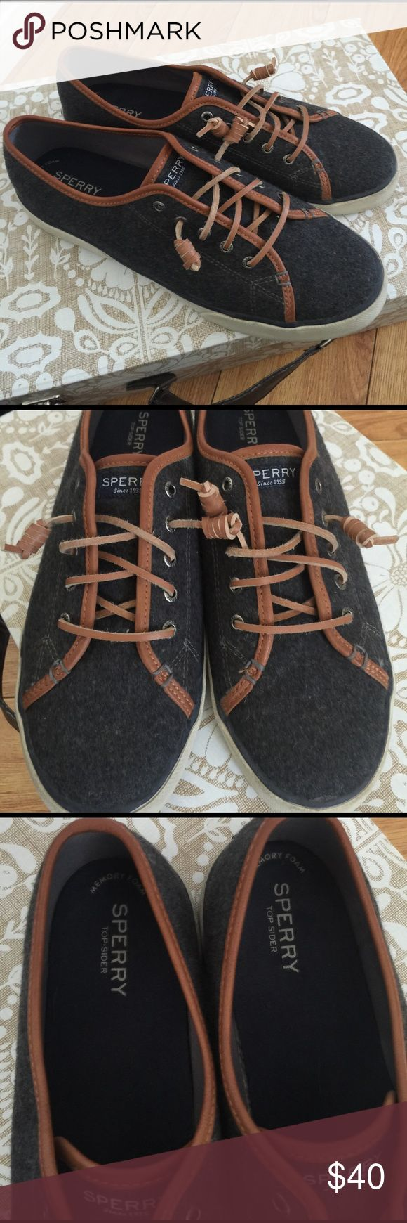 Sperry Top Sider wool tennis 11M Sorry Top Siders wool tennis shoes, size 11M. Wool material mix with leather accents. P effect everyday tennis shoes. Gently used, mostly shows wear on bottom as seen in pics. Other than that they are in very good condition. OFFERS WELCOME, BUNDLES 15% OFF, ❌TRADES❌ Sperry Top-Sider Shoes Sneakers