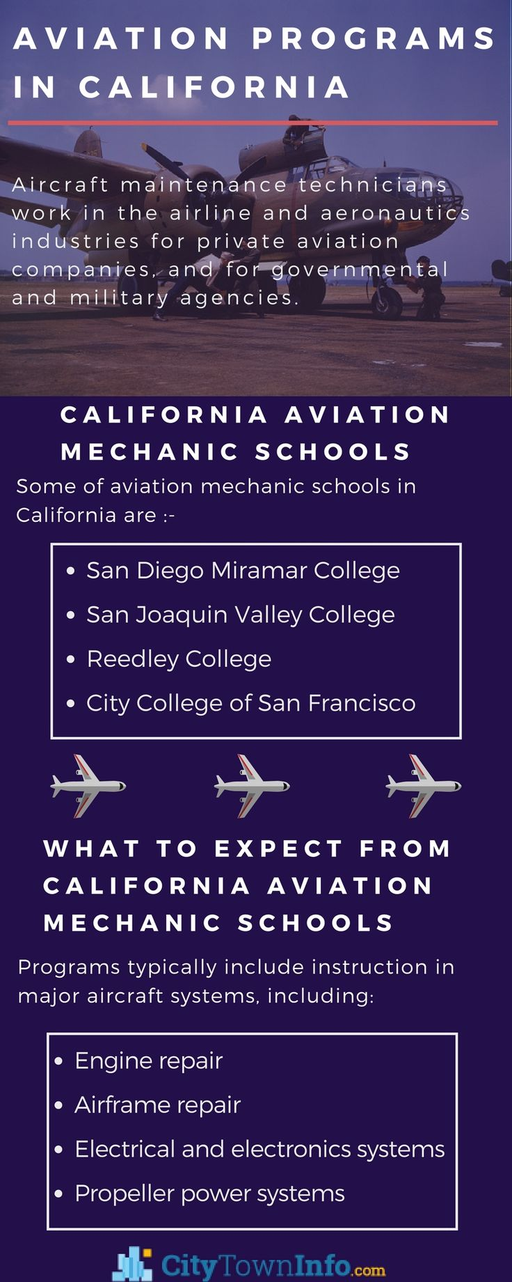 Explore various career options in the #aviation field in #California. Some programs prepare students to work on both air frame and power plant components.Check out the #schools that offer #aircraftmechanics and get an insight about the course in detail.