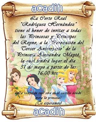 invitacion para fiesta de princesas - Buscar con Google