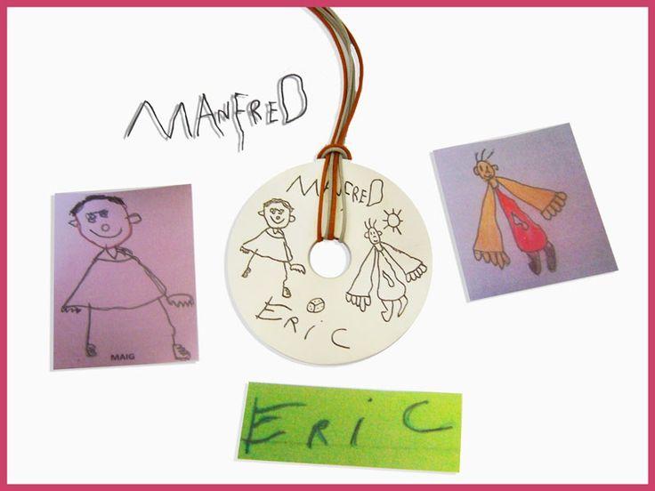 """Para mamá un colgante en forma de """"donut"""" de plata de ley con los dibujos de sus niños. Ya podéis imaginar el éxito !!!!!"""