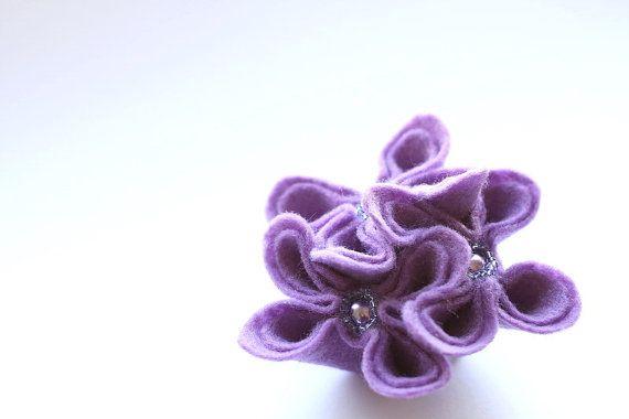 Lavender Mist Felt Flower Brooch Purple by GoodFloristDesign