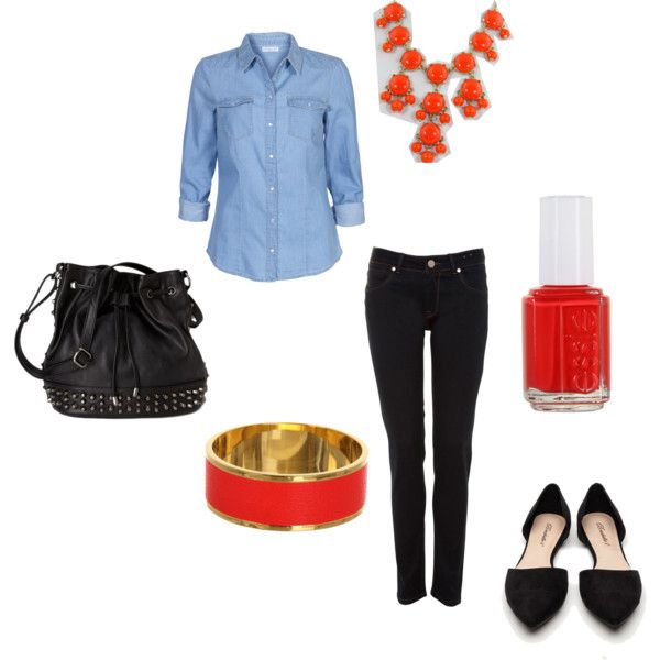 A casual red and black with chambray outfit, great for fall. Would pair with a Cat eye and messy bun
