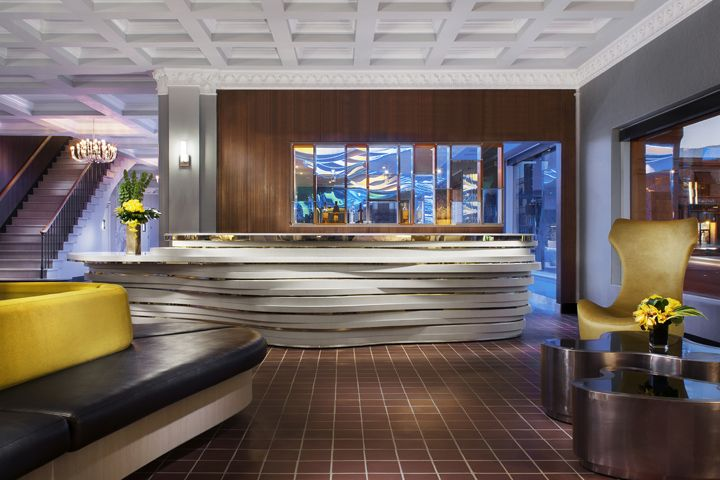 The lobby follows the principle of openness and transparency; there are few displays of colour which allow the organic contour landscape to be the background scene.