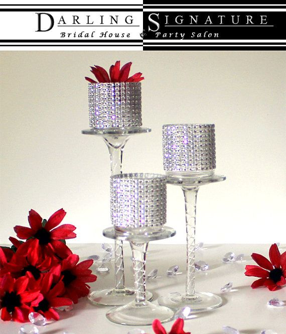 Bling Votive Candle Holders Set of by DSBlueprintsInc on Etsy
