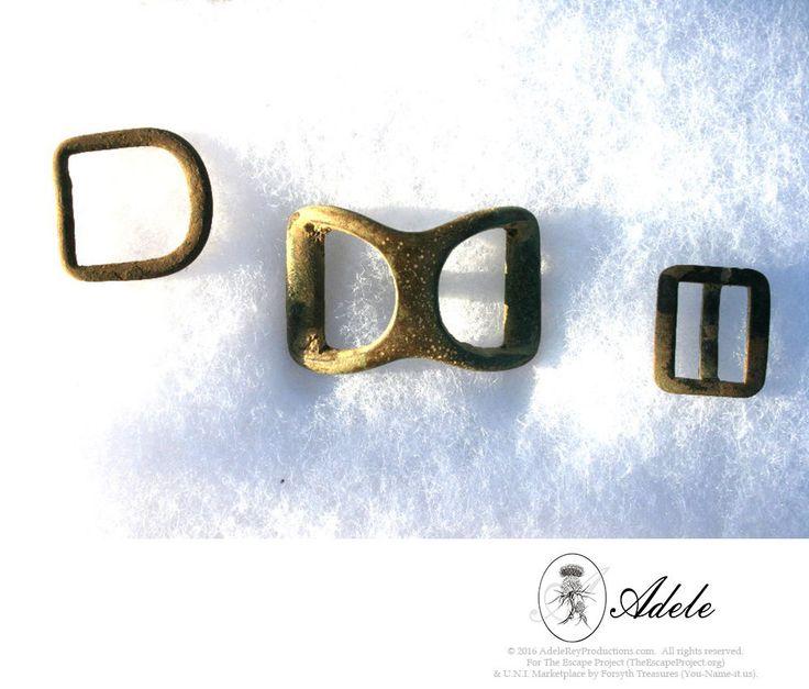 Civil War Relics - Three (3) Brass Buckles: Spur Strap, Kepi & Harness