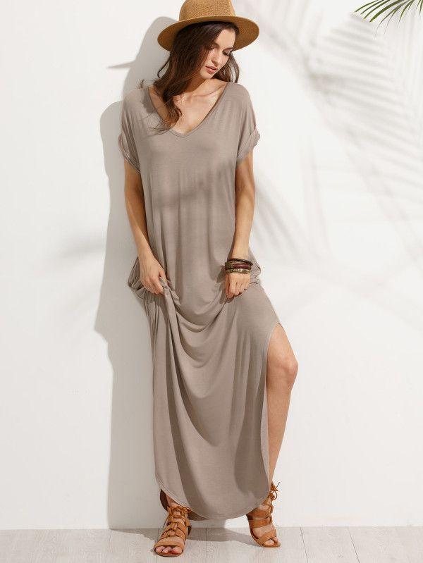 f7d153fe2d Rolled Sleeve Pocket Split Side Floor Length Dress -SheIn(Sheinside ...