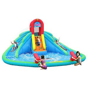Kids will go wild for the HappyHop Ocean Park Inflatable Double Water Slide! Your little adventurers can race up the climbing wall and slide down...