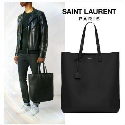 ●2017SS●Saint Laurent レザーショッパー トートバッグ 黒サンローラン 2017 ファッション