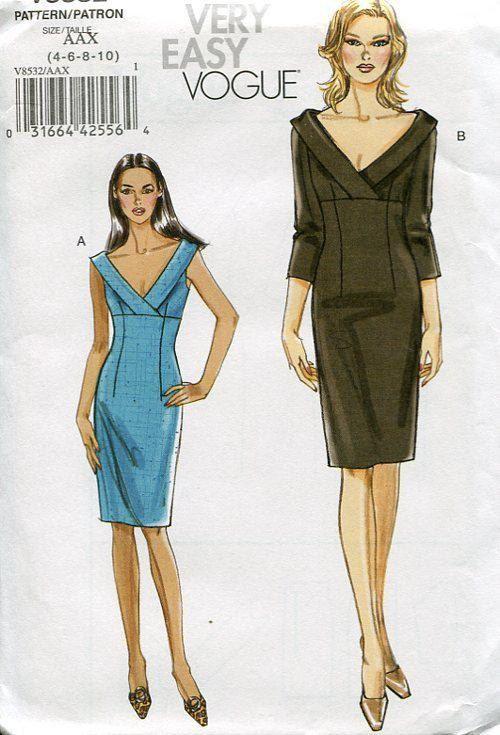 Vogue 8532 Mock Wrap Empire Dress 2008 Sewing Pattern Out of Print Designer FREE US SHIP by LanetzLivingPatterns on Etsy