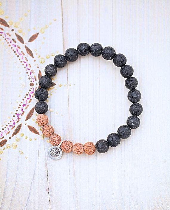 Rudraksha bracelet/natural/Lava/symbole