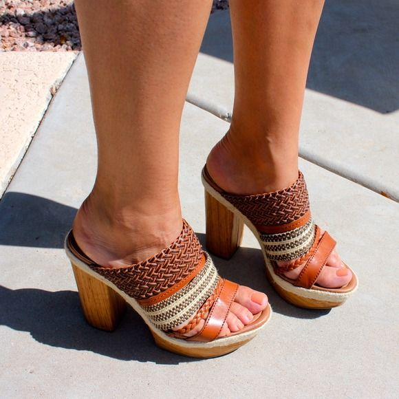 Lucky Brand Brown Mika Woven Leather heels These wedges are the perfect mixture of tans. Light, medium and dark hues make it easy to match multiple looks. They're very comfortable and run a bit large. I'm normally a 9 and they're an 8.5. Lucky Brand Shoes Heels
