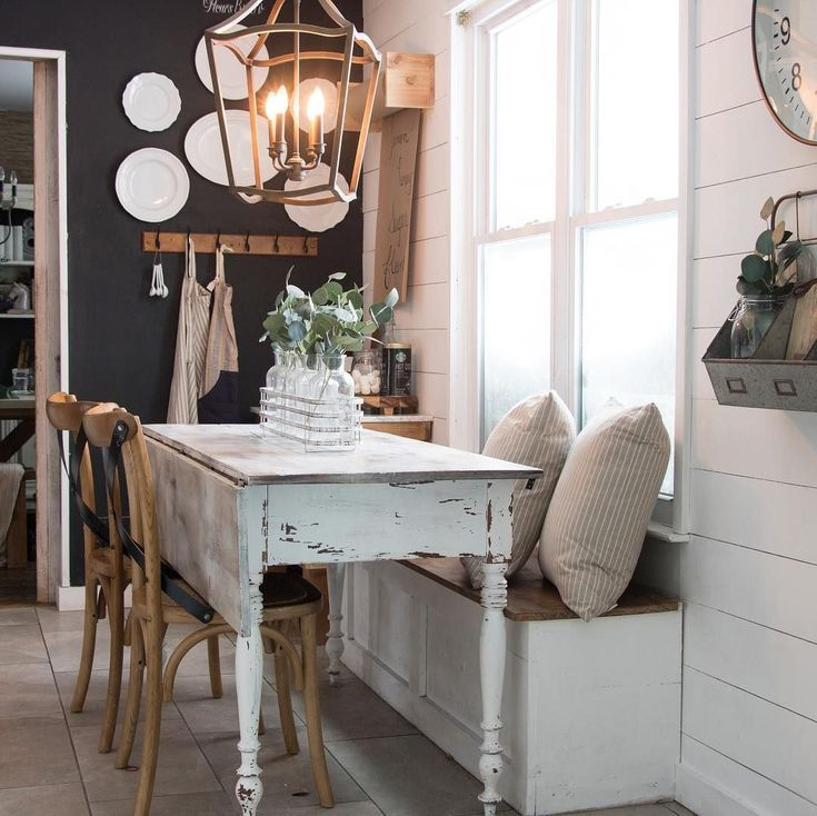 Love the dark accent wall with the chippy paint on the farm table!  - | - ACCENT WALL PAINT Ideas for Your Best Home Decor   #DIYWall #Ideas #wallpaint #wallAccent #wallRustic #AccentWallIdeas #WallDecor #HomeDecor