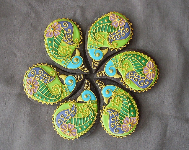 Paisley partridge cookies--very pretty