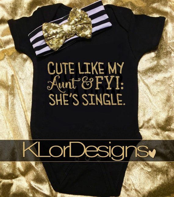Cute Like My Aunt onesie Baby Girl Onesie black and by KLorDesigns
