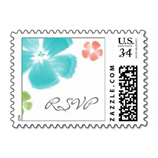 Multicolored Tropical Watercolor Flowers RSVP Stamps