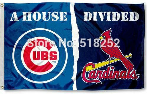 Chicago Cubs and St. Louis Cardinals House Divided Flag 3x5 FT MLB with flag grommets