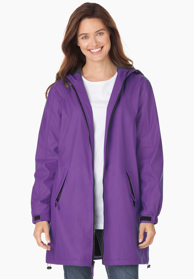 Plus Size Raincoat slicker repels water; drawstring hood, fleece lining