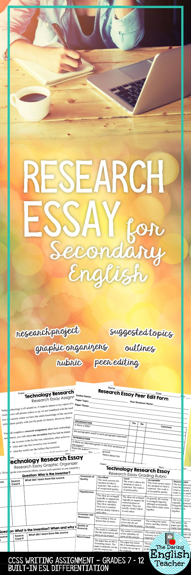 Research writing is an integral part of secondary ELA classes. This research essay assignment includes the research topic, brainstorming graphic organizers, peer editing, and a rubric.