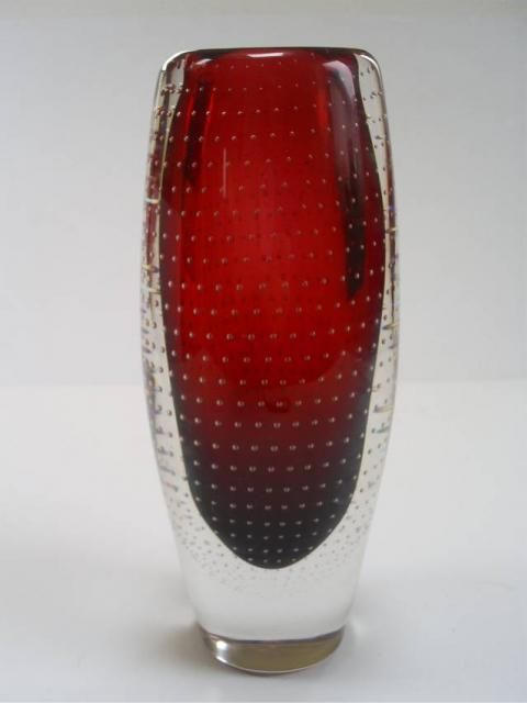 STYLISH VINTAGE SCANDINAVIAN AIRIEL CONTROL BUBBLE ART GLASS VASE/GUNNEL NYMAN