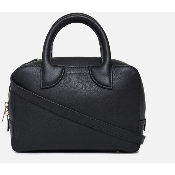 Courreges Leather Small Size Bag (81.810 RUB) ❤ liked on Polyvore featuring bags, handbags, black, leather bags, genuine leather purse, leather pocket purse, real leather handbags and top handle leather handbags