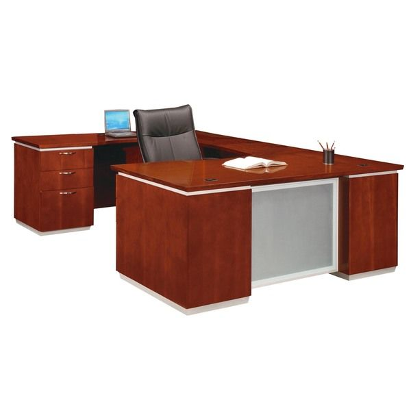 DMI Office Furniture Pimlico Veneer Cherry Finish Left Executive U Shaped Desk