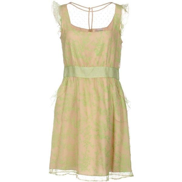 Redvalentino Short Dress ($190) ❤ liked on Polyvore featuring dresses, light green, beige lace dress, no sleeve dress, light green dress, short dresses and beige short dress