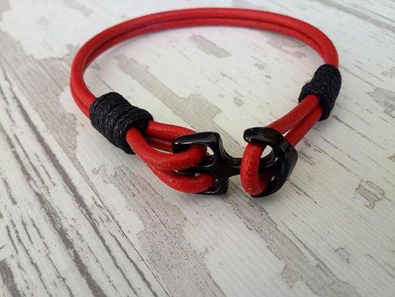 Gift Idea for men  Mens Anchor Bracelet Leather Bracelet