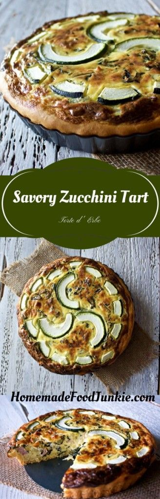 Savory Zucchini Tart. A rustic, savory bite of delicious, by HomemadeFoodJunkie.com
