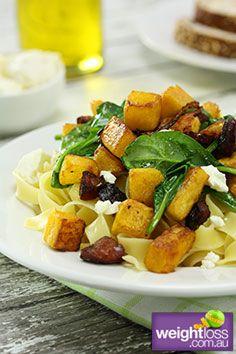 Healthy Pasta Recipes: Pumpkin Spinach and Goats Cheese Fettuccine. #HealthyRecipes #DietRecipes #WeightlossRecipes weightloss.com.au