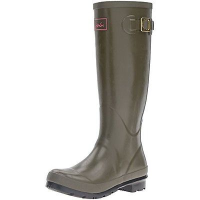 Joules Womens Field Welly Gloss Rain Boot, Woodland Green, 9 M US Sale