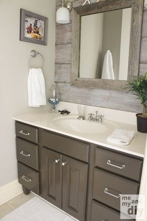 Gray Painted Cabinets | Benjamin Moore Thunder Gray Bathroom Paint Color. Love the barnboard backsplash!