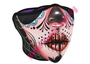 2 in 1 Reversible Motorcycle Biker Ski Neoprene Face Mask Half Sugar Skull | eBay