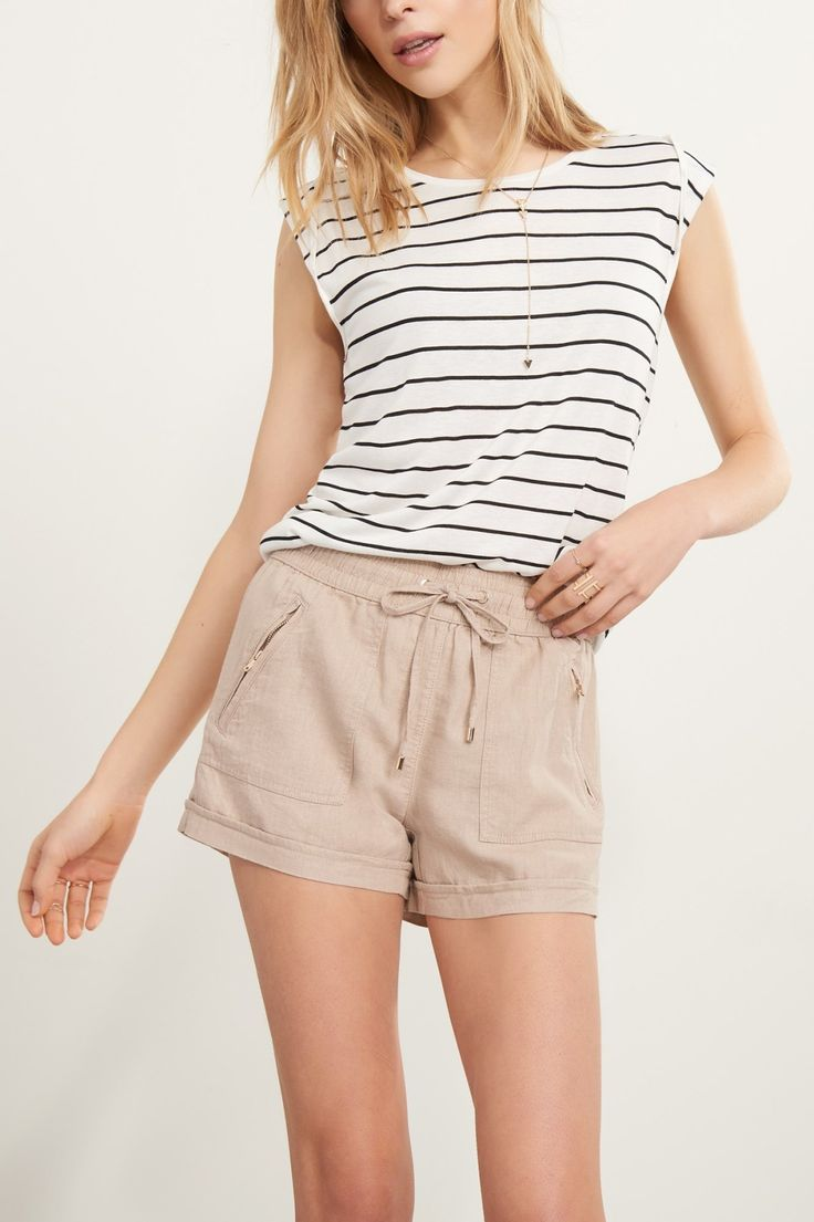Shorts weather is coming!  Soft linen shorts.