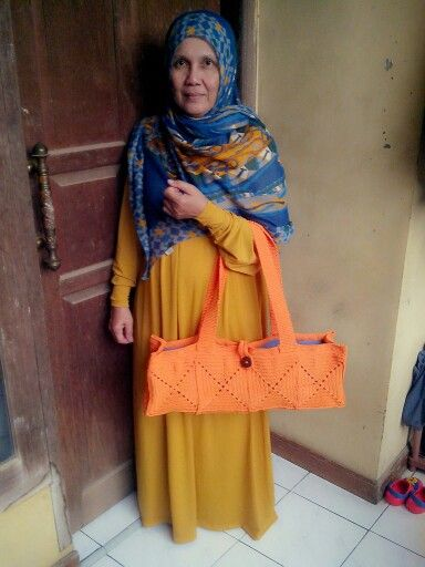 Hijab with crochet. She is my lovely mom :))