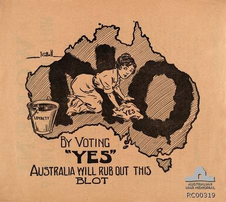 An appeal to women voters, WWI. Source: AWM. Pro-conscription Referendum leaflet targeting the female vote. First World War, 1914-1918